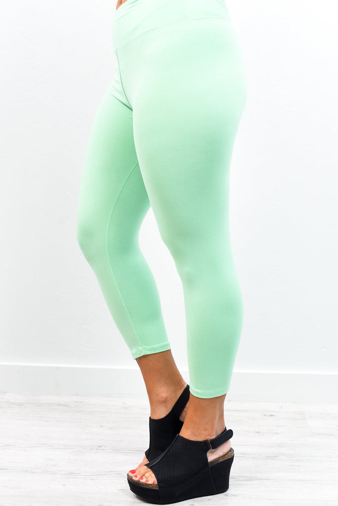 Mint Capri Wide Band Solid Leggings (Sizes 4-12) - LEG2295MT