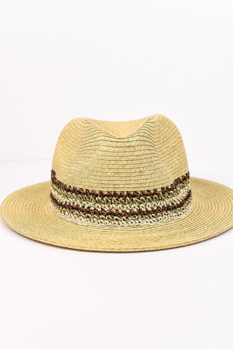 Sand/Multi Color Fedora Hat - HAT1084SD