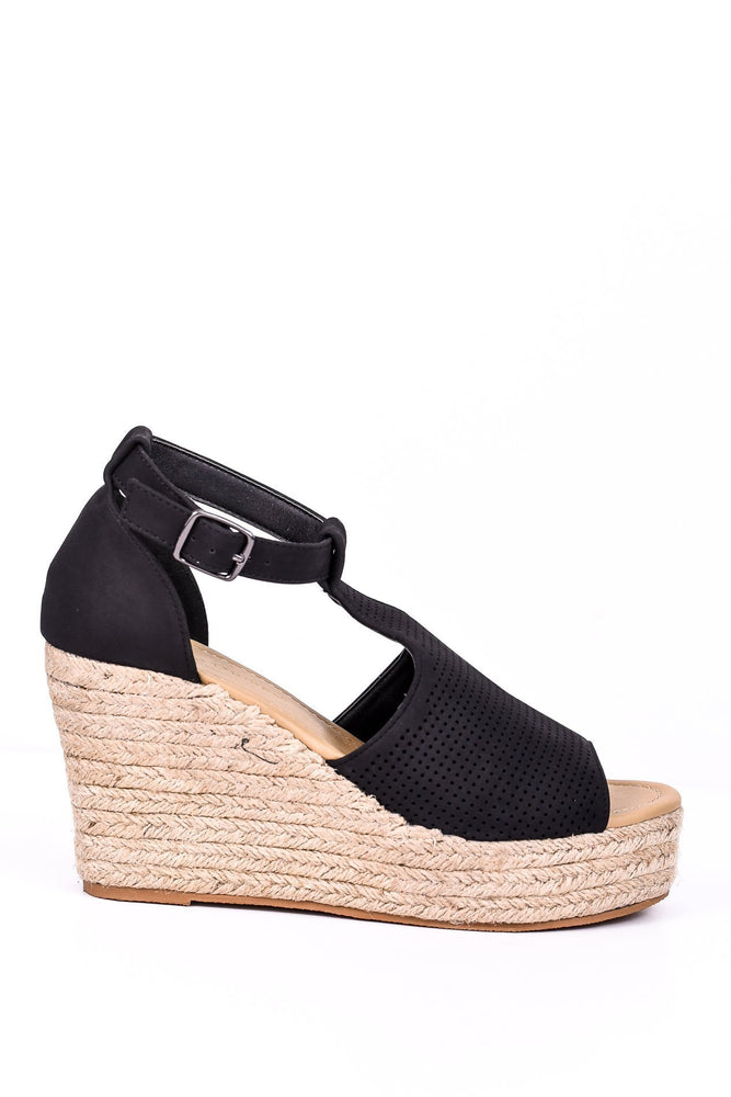 One Step Forward Black Espadrille Wedge - SHO1454BK