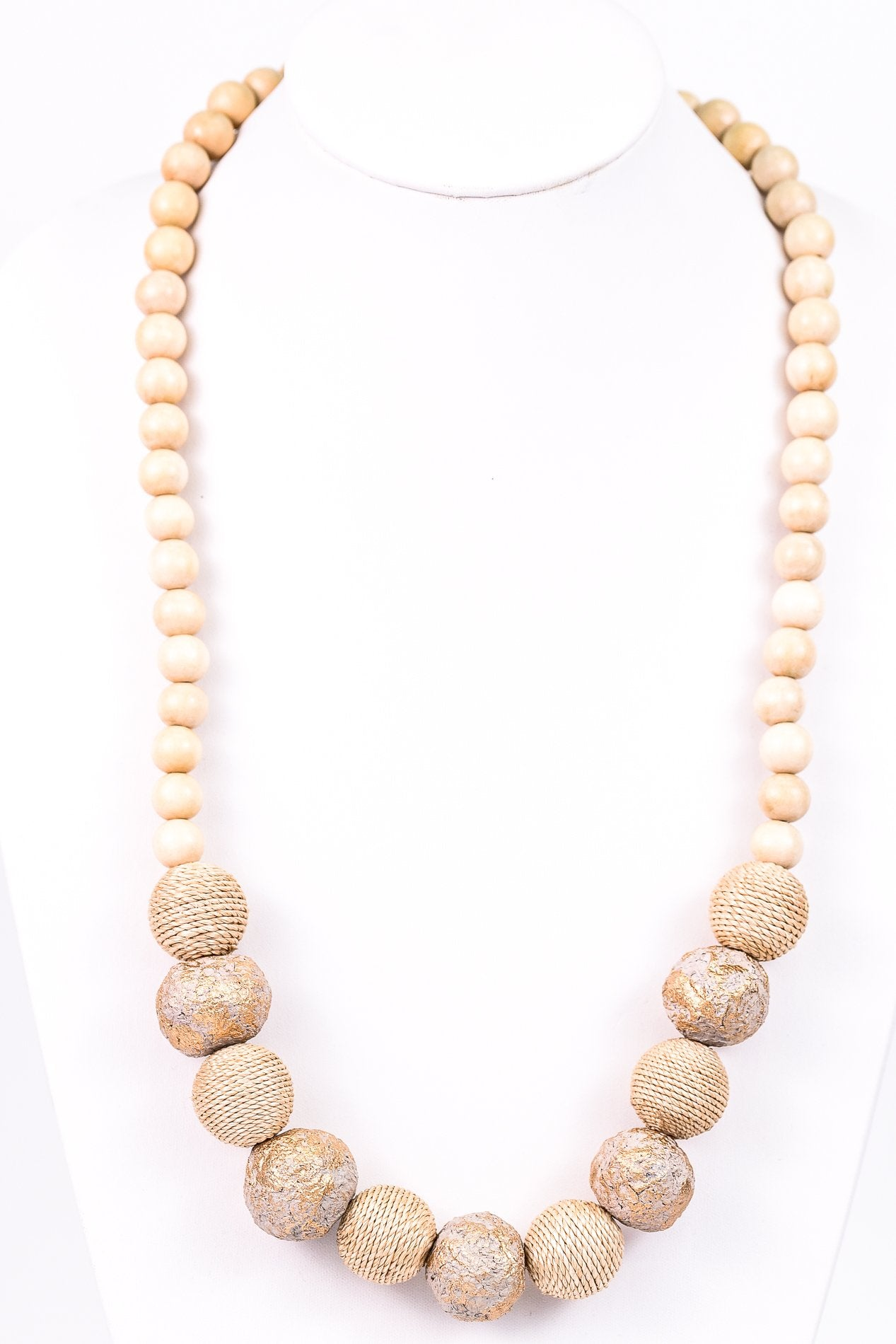 Natural/Gold Rattan/Wooden Beaded Necklace - NEK2430NA