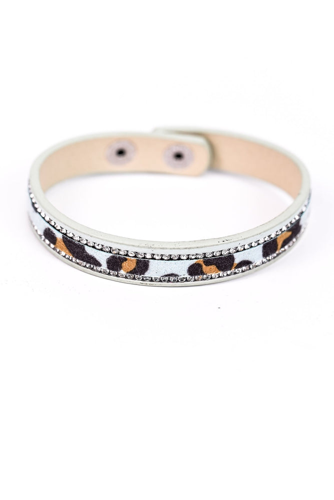 Mint Leopard/Bling Snap Closure Bracelet -BRC2011MT