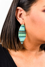 Green Glitter Striped Fringe Feather Earrings - EAR2172GN