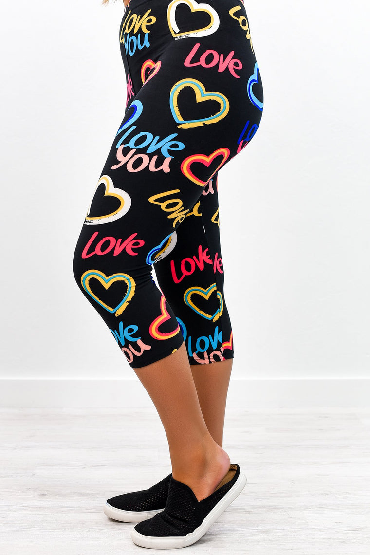 Black/Multi Color I Love You/Heart Capri Printed Leggings (Sizes 4-12) - LEG2321BK