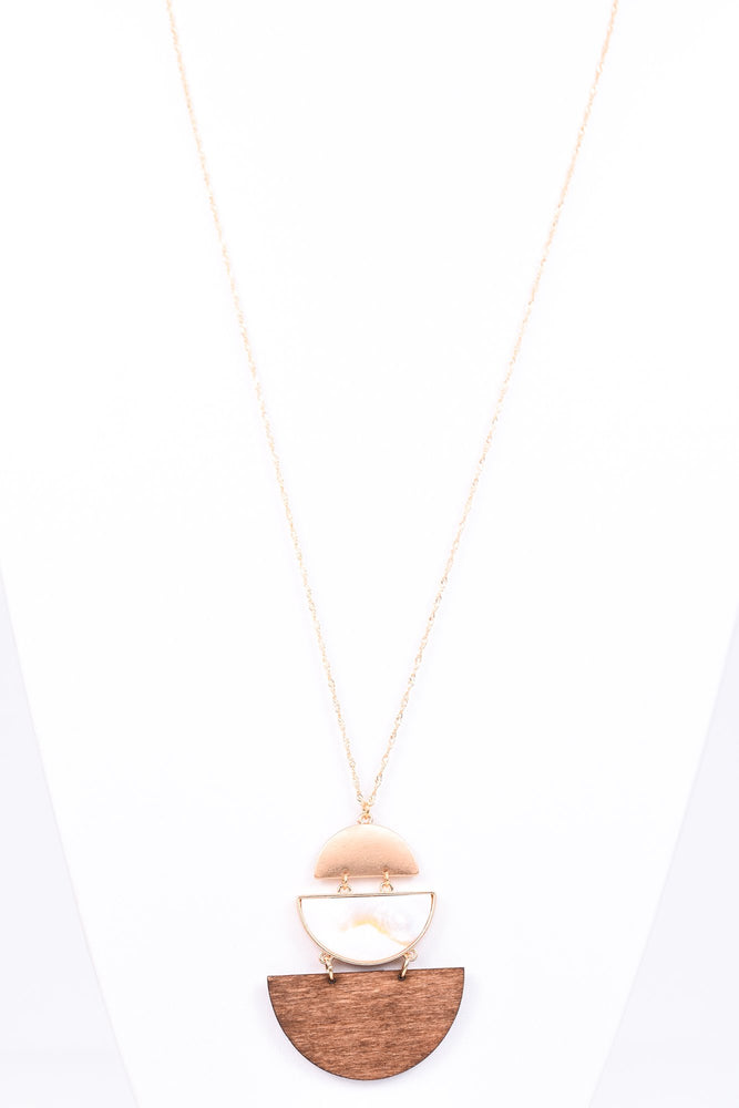 White Mother Of Pearl & Dark Wooden Triple Step Down Necklace - NEK2417WH