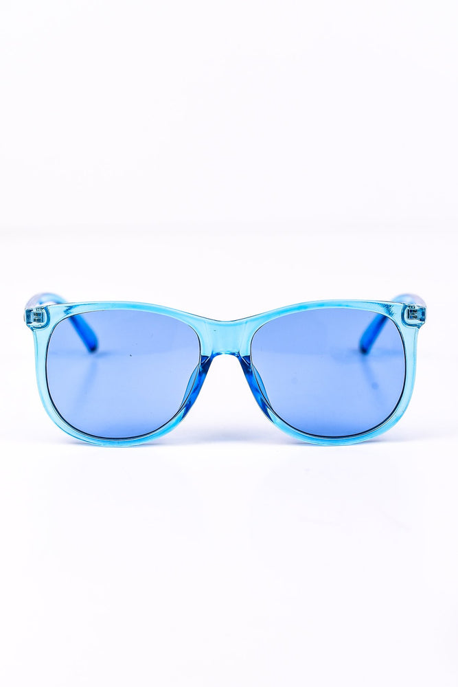 Clear Blue Frame Sunglasses - SGL184BL - FREE hard case