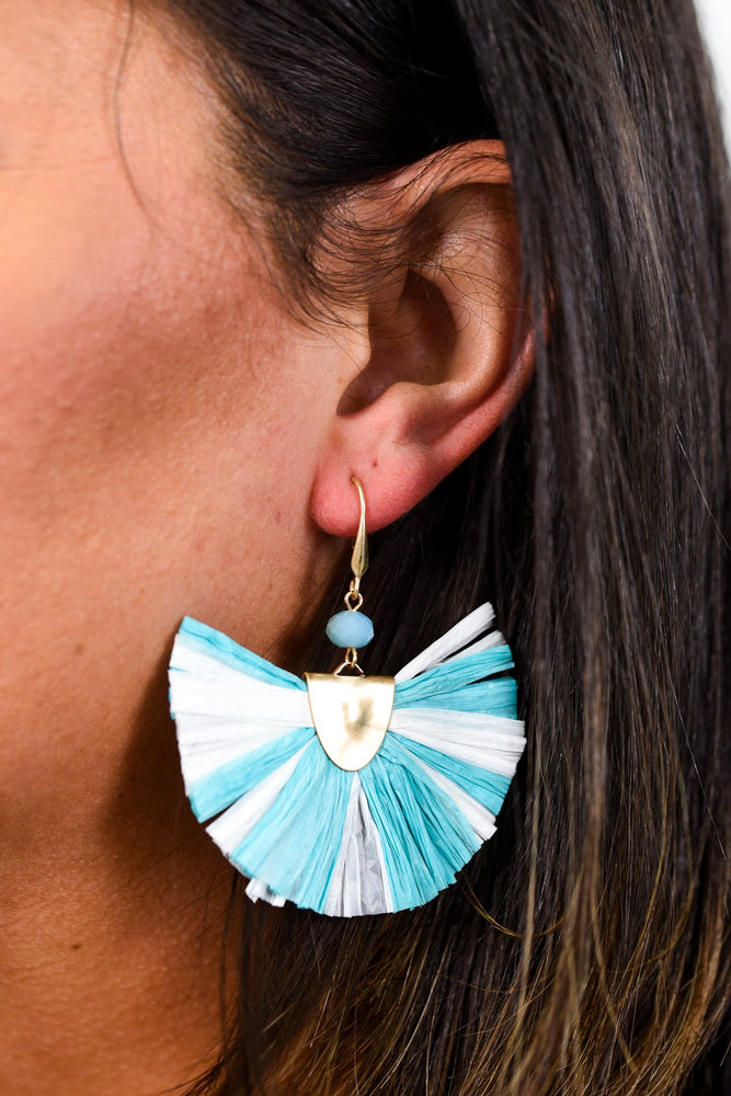 Turquoise/White Fan Earrings - EAR2204TU