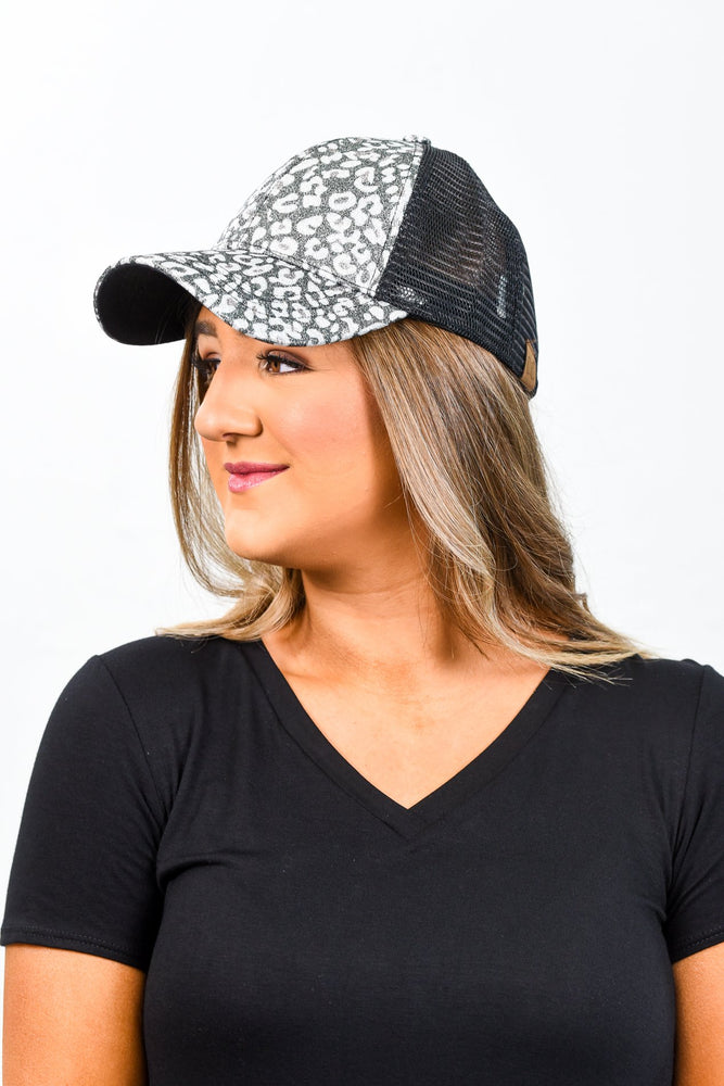 Black Leopard Ponytail Trucker Hat - HAT1089BK
