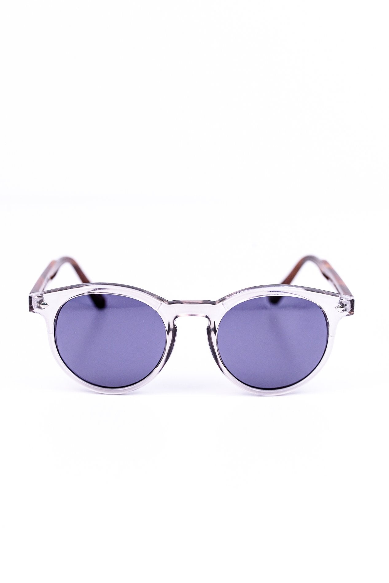 Clear Light Taupe Round Frame Sunglasses - SGL216LTA - FREE hard case