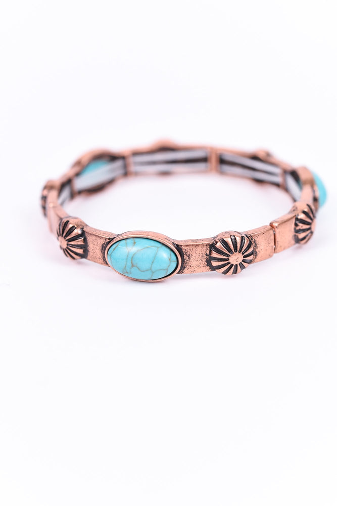 Turquoise/Copper Stretch Bracelet - BRC2036CP