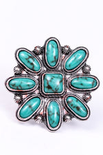 Turquoise/Silver Flower Adjustable Ring - RNG1068TU
