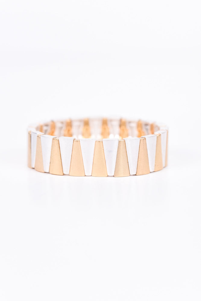 Gold/Silver Triangle Stretch Bracelet - BRC2042GO