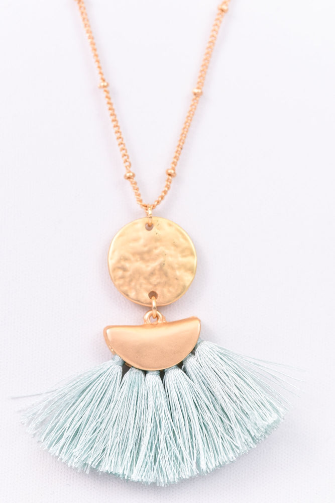Mint/Hammered Gold Disk/Fan Fringe Necklace - NEK2478MT