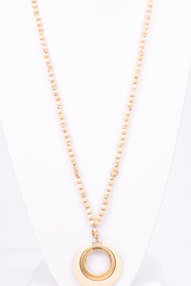 Natural/Gold Double Cutout Circle Pendant Beaded Necklace - NEK2476NA
