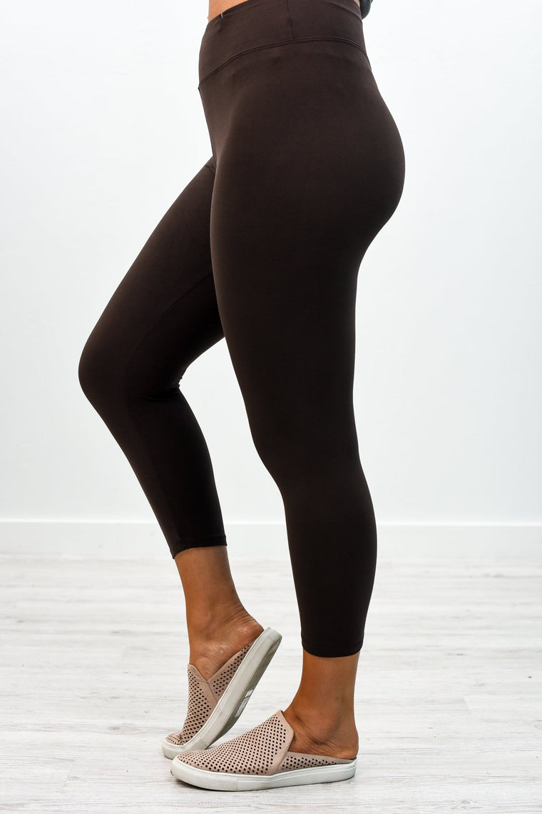 Brown Capri Wide Band Solid Leggings (Sizes 4-12) - LEG2341BR
