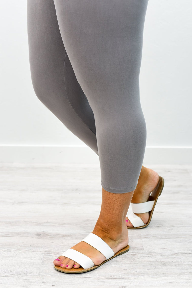 Light Gray Capri Wide Band Solid Leggings (Sizes 20-26) - LEG2367LGR