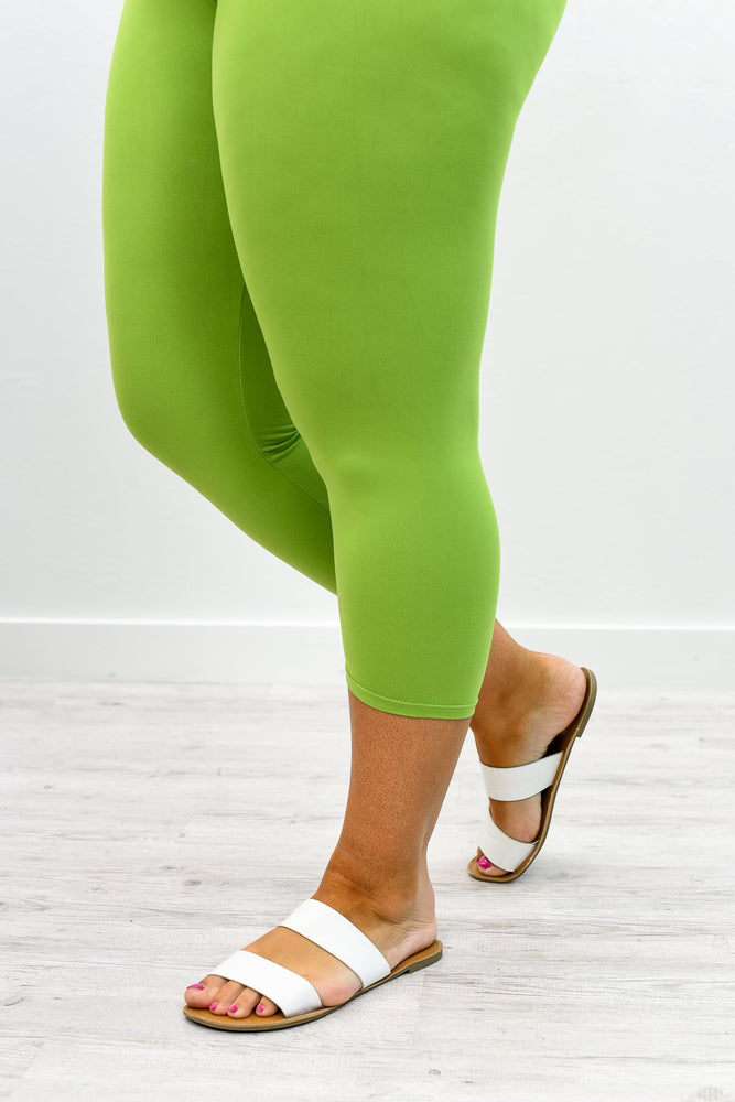 Lime Green Capri Wide Band Solid Leggings (Sizes 12-18) - LEG2350LGN