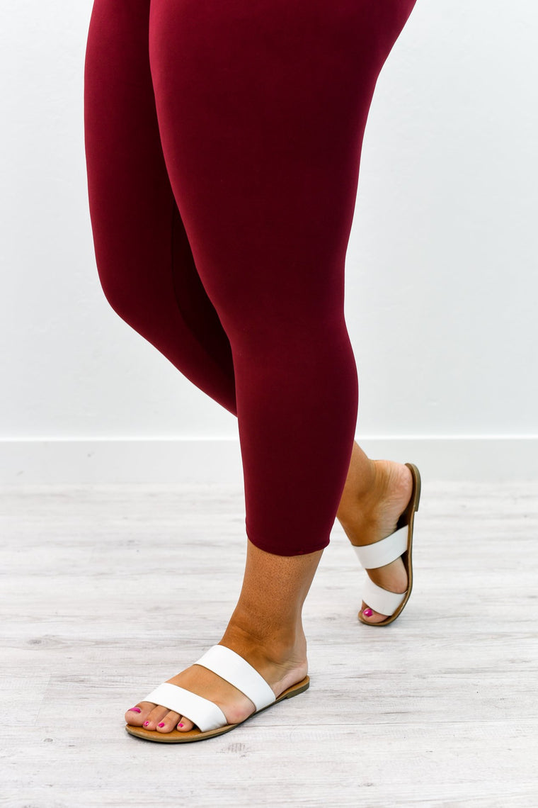 Burgundy Capri Wide Band Solid Leggings (Sizes 20-26) - LEG2368BU