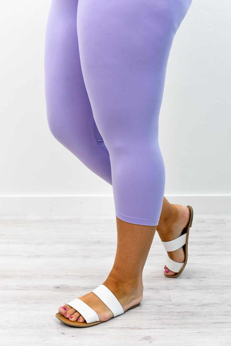 Lavender Capri Wide Band Solid Leggings (Sizes 12-18) - LEG2375LV