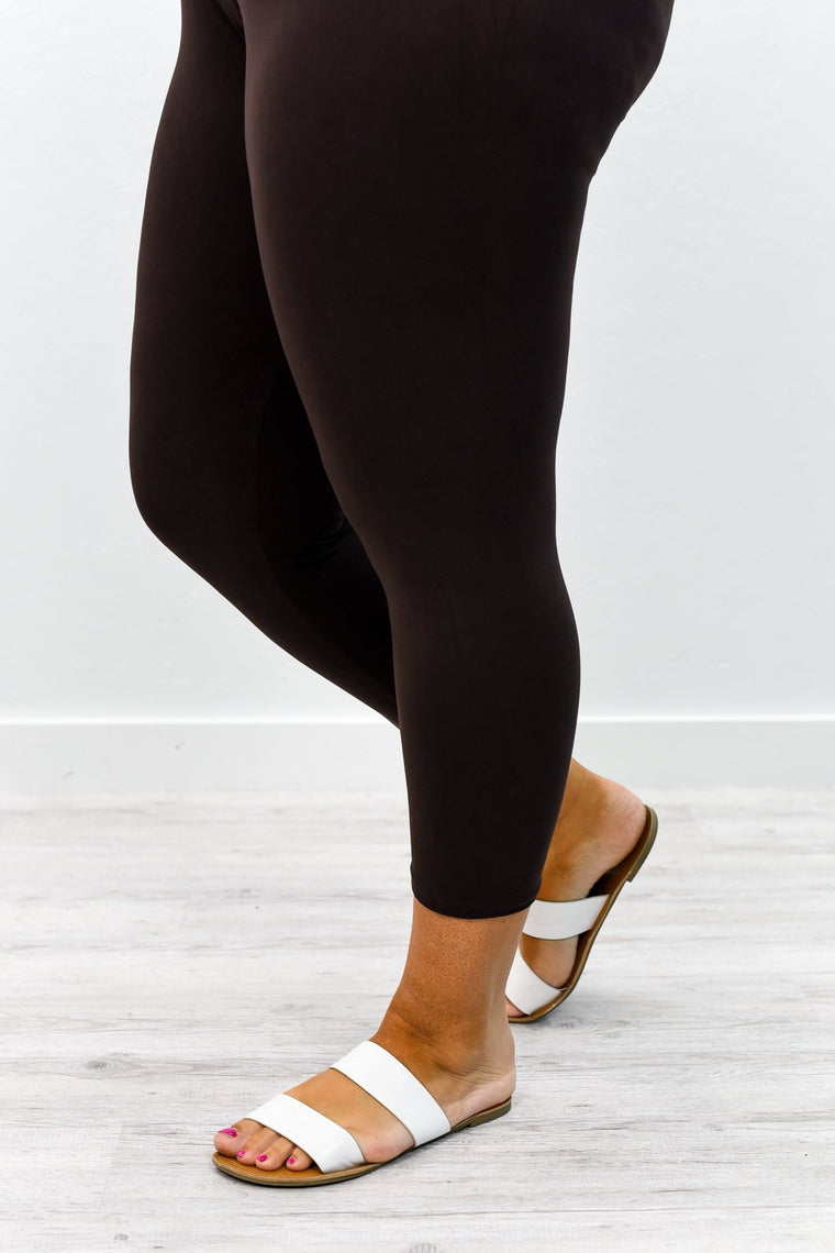 Brown Capri Wide Band Solid Leggings (Sizes 20-26) - LEG2356BR
