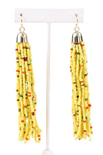 Yellow Seed Bead Tassel Earrings - EAR2241YE