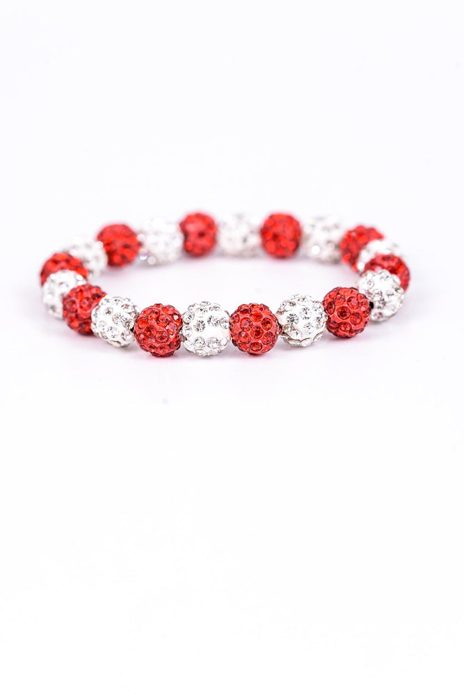 Red/White Crystal/Bling Stretch Bracelet - BRC2077RD
