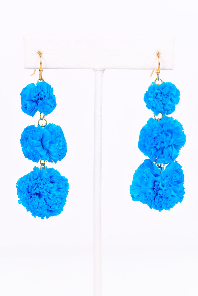 Blue Raffia Triple Ball Drop Earrings - EAR2278BL