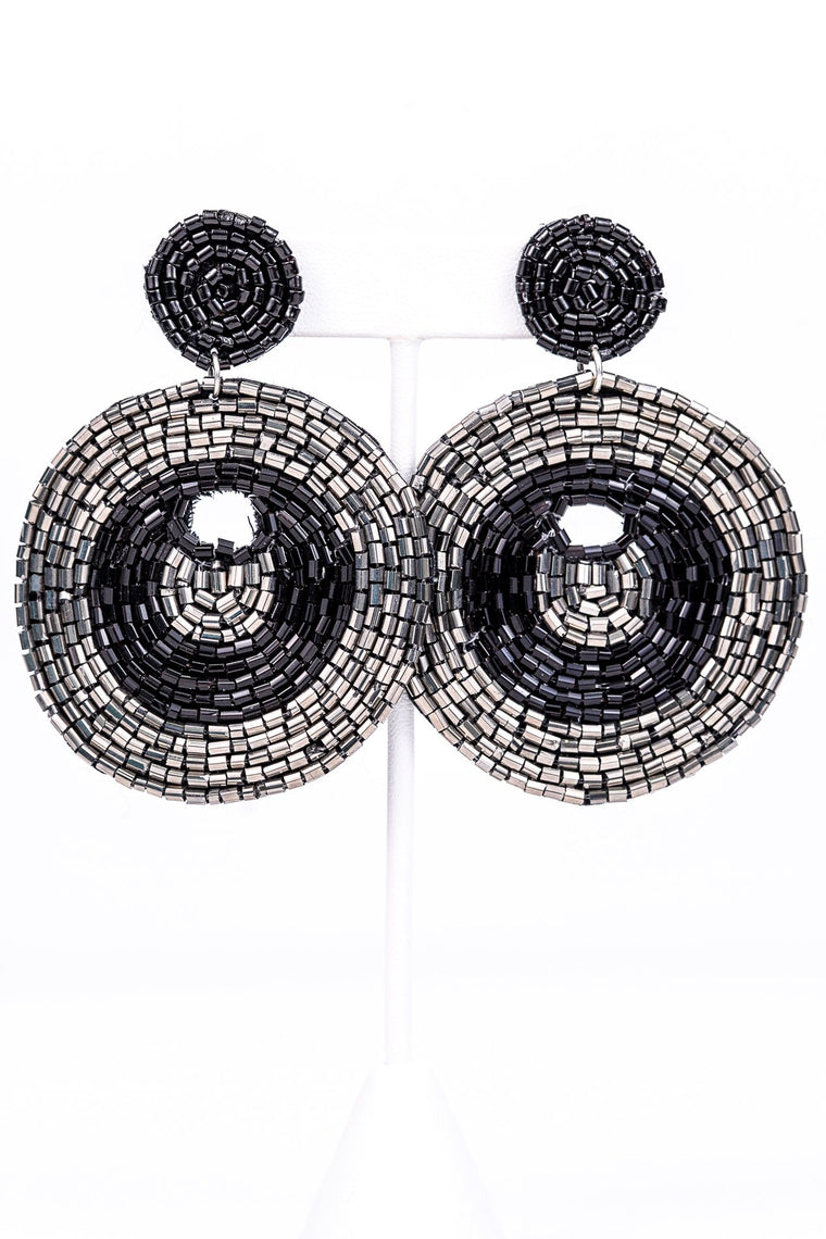 Black/Silver Round Beaded Earrings - EAR2286BK