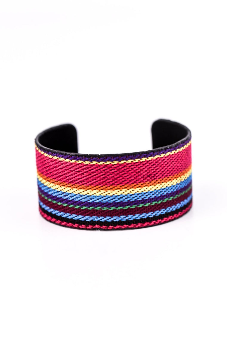 Multi Color Striped Cuff Bracelet - BRC2107MU