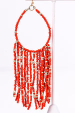 Red Seed Bead Teardrop Tassel Dangle Earrings - EAR2296RD