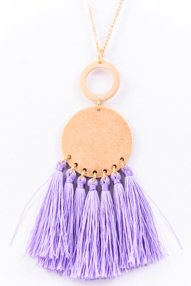 Lavender Fringe/Gold Disk Necklace - NEK2571LV