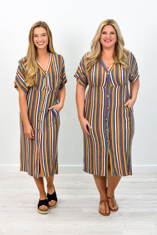 A Little Charmed Mustard/Multi Color Striped V Neck Dress - D2949MS