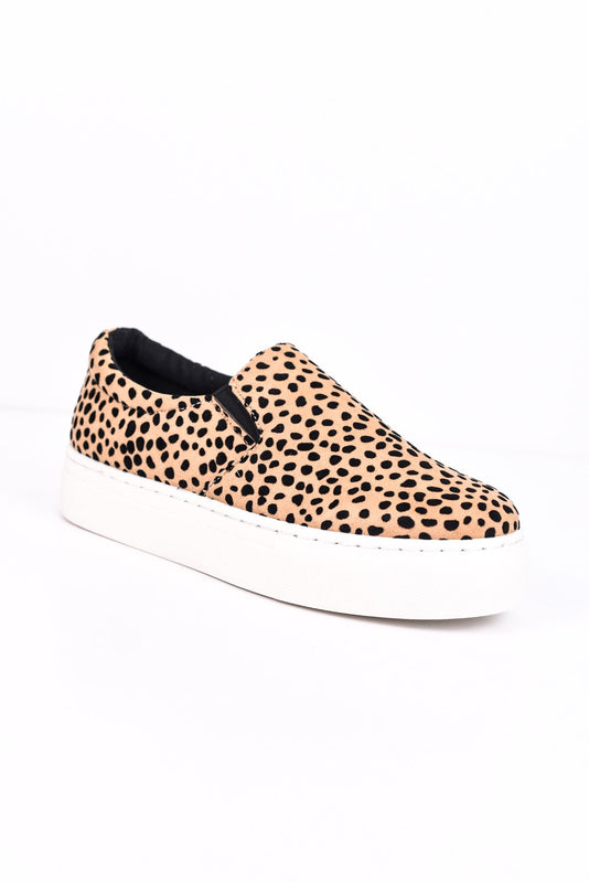 Return To The Wild Tan/Black/Leopard Platform Slip On Shoes - SHO1504TN