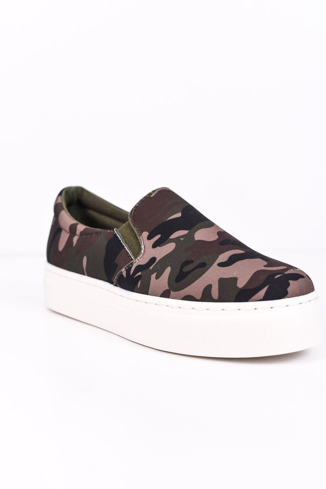 Return To The Wild Khaki/Camouflage Platform Slip On Shoes - SHO1506KH