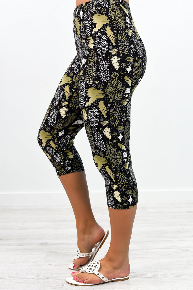 Olive/Black Multi Pattern Capri Printed Leggings (Sizes 4-12) - LEG2378OL