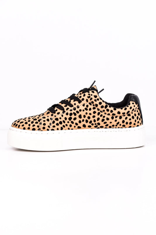 Catch Me If You Can Tan/Black Leopard Platform Sneakers - SHO1509TN