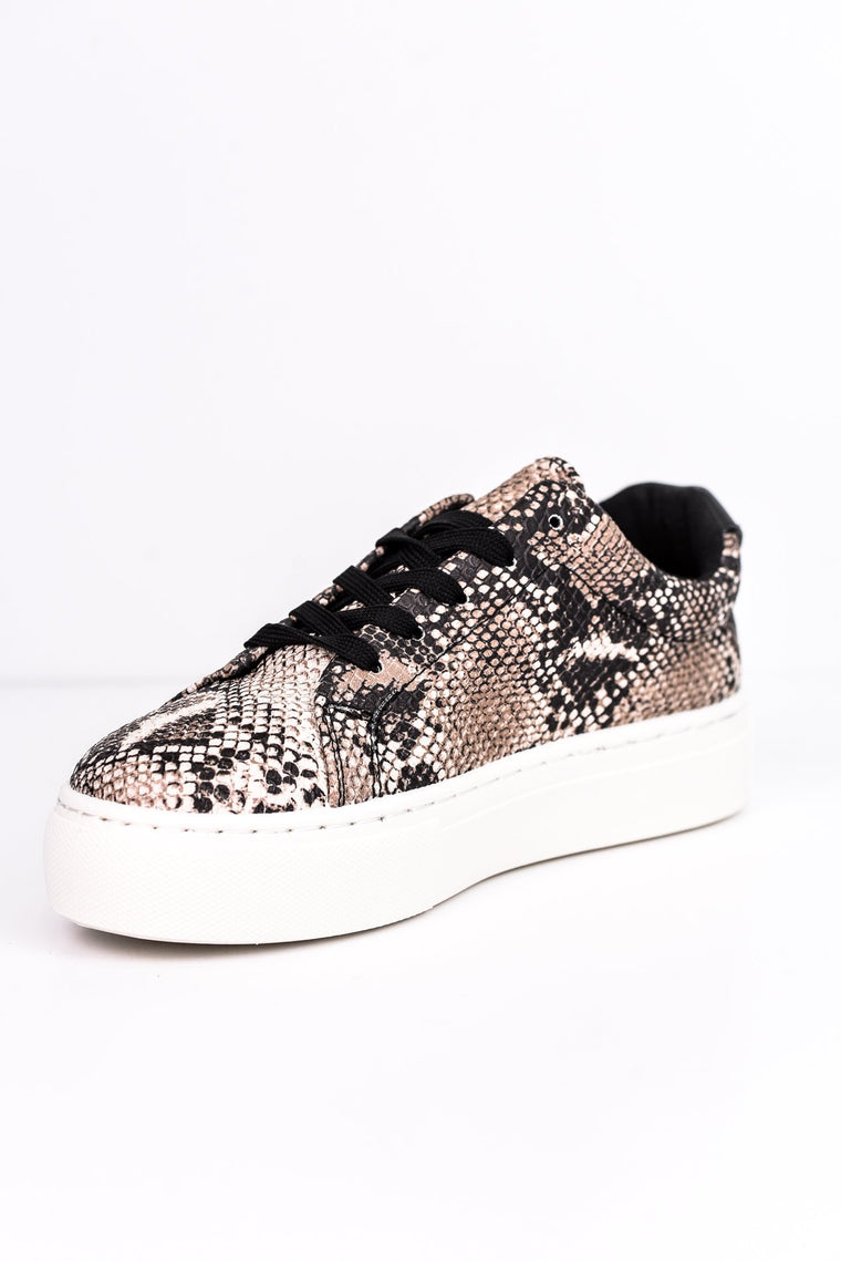 Slide Away Beige/Brown Snakeskin Platform Sneakers - SHO1503BG