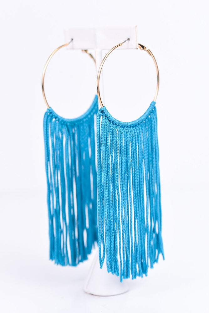 Long Turquoise Tassel Gold Hoop Earrings - EAR2311TU