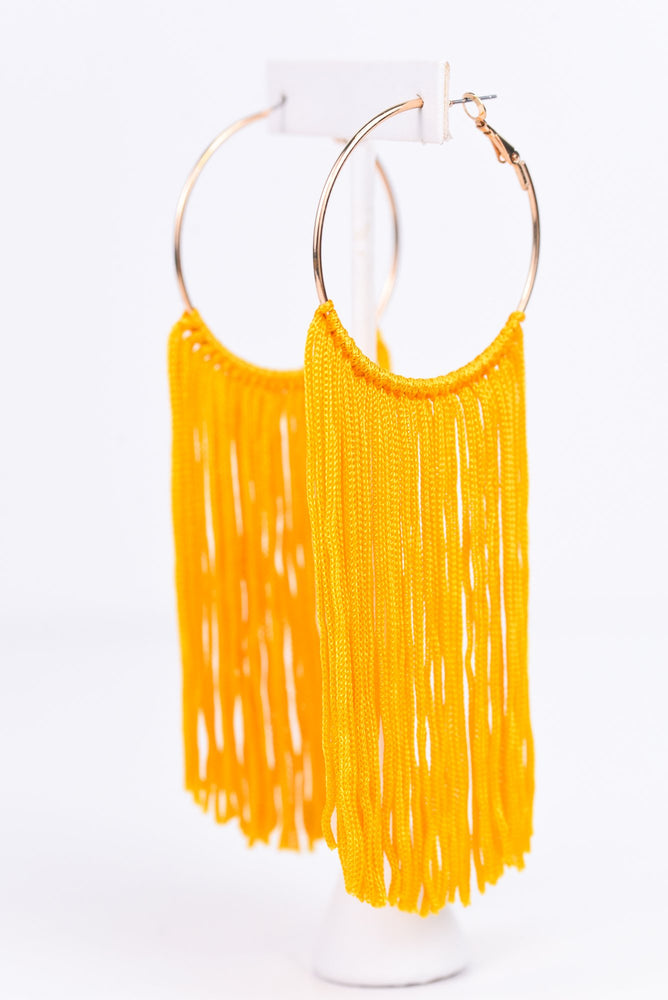 Long Mustard Tassel Gold Hoop Earrings - EAR2303MS