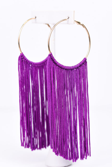 Long Purple Tassel Gold Hoops Earrings - EAR2304PU