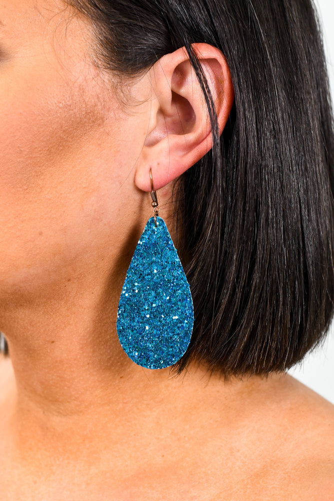 Turquoise Glitter Teardrop Earrings - EAR2307TU