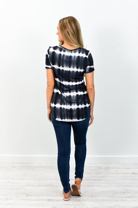 To The Rhythm Of My Heartbeat Black/White Tie Dye V Neck Top - B5742BK