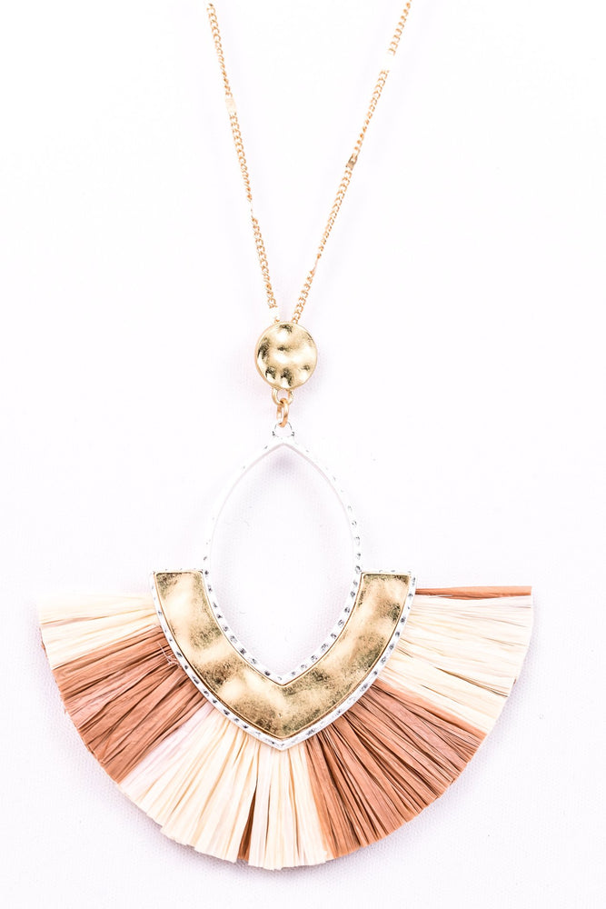 Natural/Brown Diamond Raffia Fan Necklace - NEK2597NA