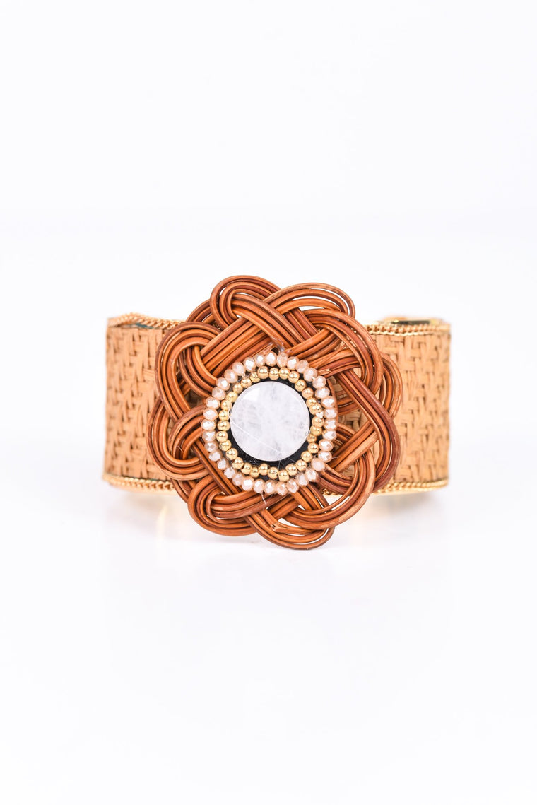 Natural/Gold Woven Flower Cuff Bracelet - BRC2136NA