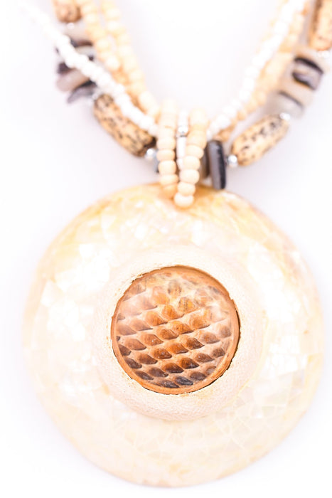 Natural Multi Strand/Cracked Mother Of Pearl Round Pendant Necklace - NEK2611NA