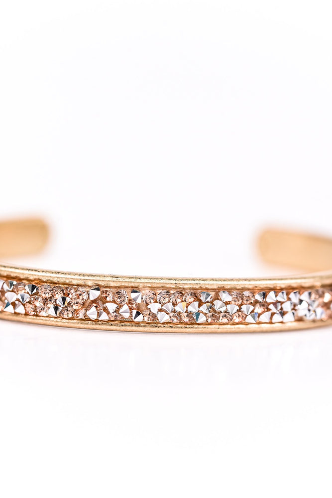 Peach/Gold Crushed Crystal Cuff Bracelet - BRC2130PE