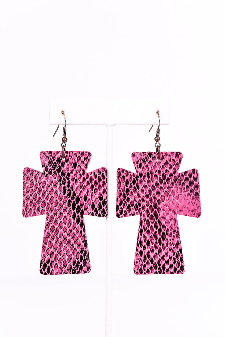 Pink Snakeskin Cross Earrings - EAR2332PK