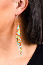 Turquoise/Multi Color Tribal Seed Bead Tassel Earrings - EAR2327TU