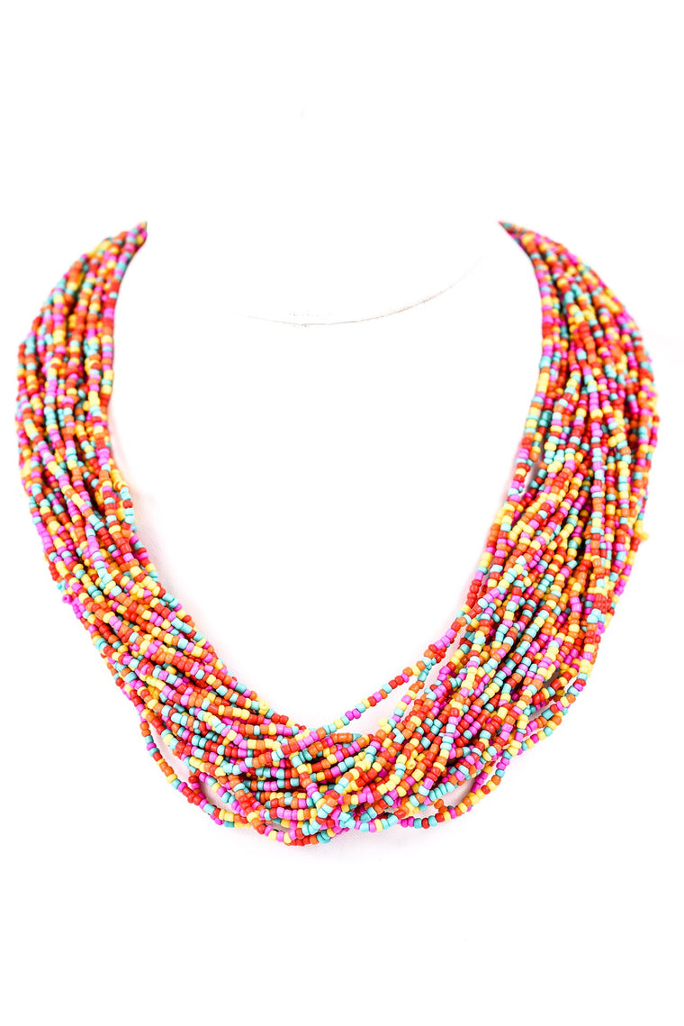 Multi Color Seed Bead Multi Layer Necklace - NEK2638MU