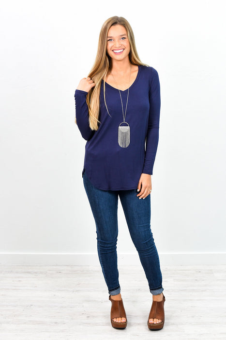 Can't Forget The Essentials Navy Solid V Neck Top - B5971NV
