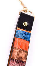 Multi Color Leather Striped Keychain - KEY1086MU